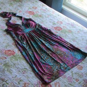 Boston Proper Floral & Animal Print Halter Dress